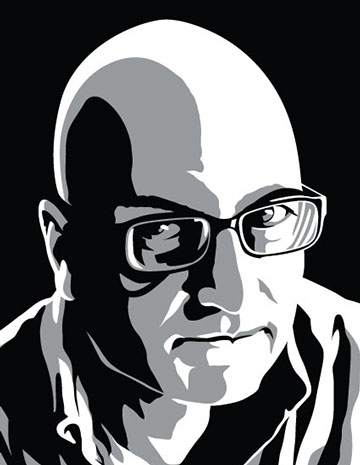 Arvin Loudermilk portrait, black and white graphic style with grey mid-tones.