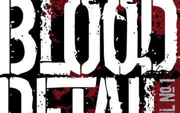 Cover of The Blood Detail. Large distressed white font over red and black background of rain drops and blood splatters
