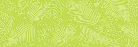 Fierce Monkey Tribe jungle pattern background. Light green palm fronds over darker green background.