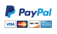 PayPal logo and images of the four major credit cards.