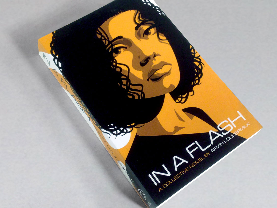"Photo of ""In a Flash"" book on a grey background. Cover is orange with a graphic image of a beautiful dark haired woman."