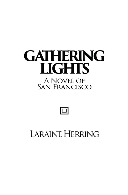 "Title page of ""Gathering Lights"". Spur serifed black font on a white page with square icon separating title and author."