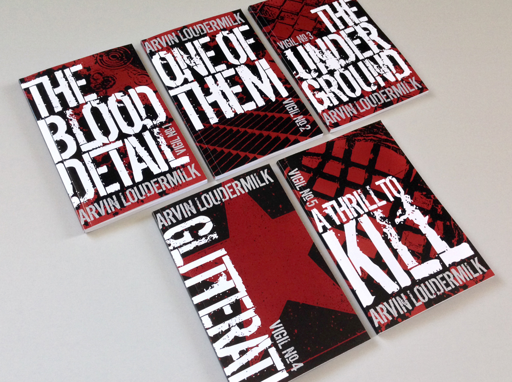 Covers of Vigil books. Large distressed white font over red and black background of blood splatters and imagery.