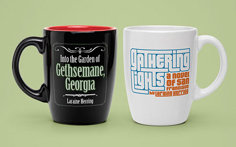 Black and white coffee mugs on mint green seamless background. Book logos printed on mugs.