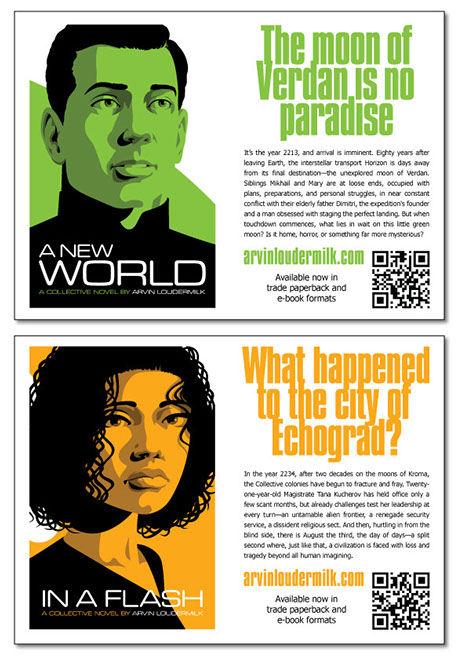 "Sample postcards for ""In a Flash"" and ""A New World"". Image of the book cover on the left, sales copy on the right with QR code."