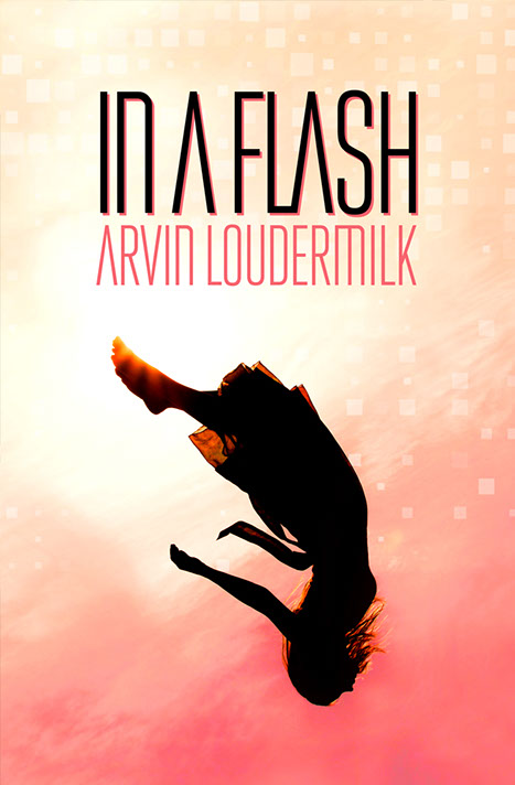 """In a Flash"" cover. Orange background with graphic portrait of a beautiful dark-haired woman."