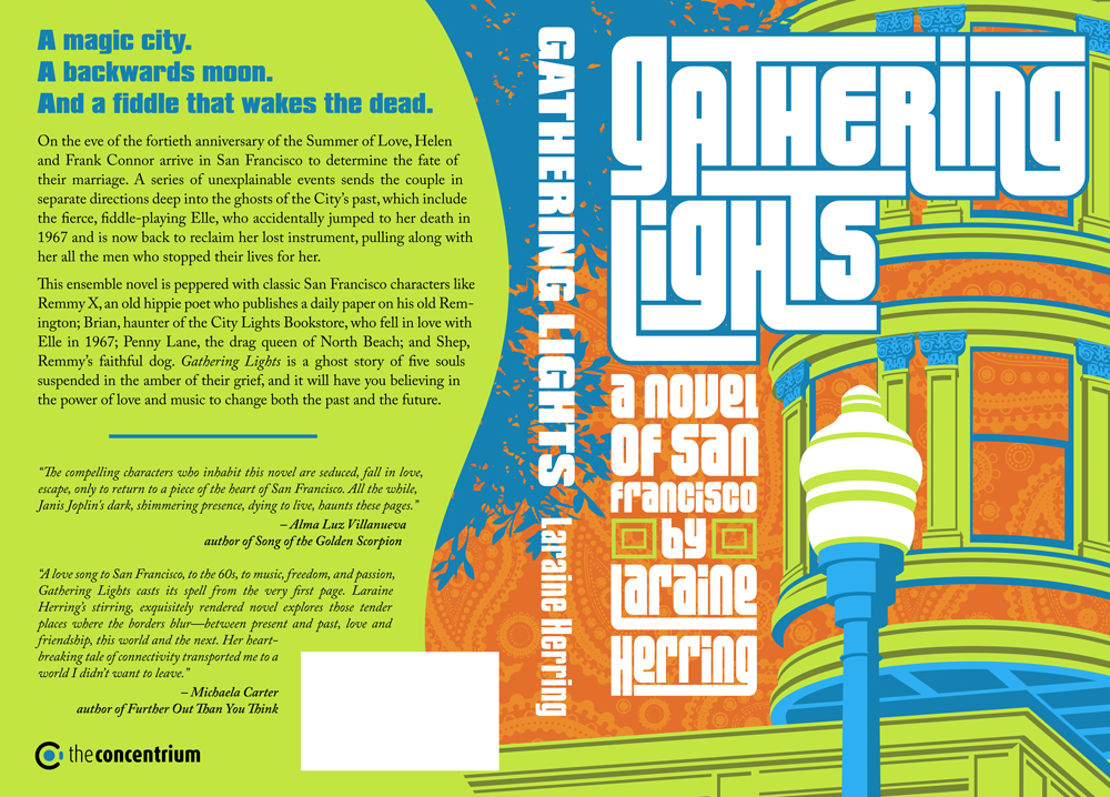 "Wrap around cover of ""Gathering Lights"". Neon graphic illustration of San Francisco house and light post."