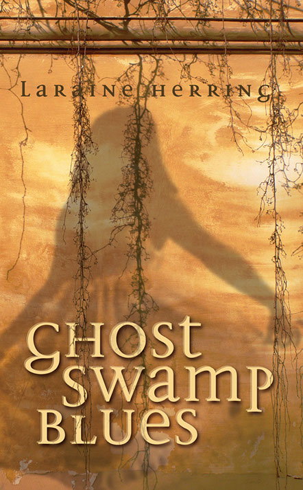 "Book cover of ""Ghost Swamp Blues"". Ghostly image of little girl pojected over vine covered wall."