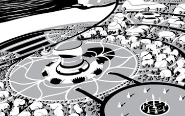 Black and white aerial illustration of futuristic city near shore.