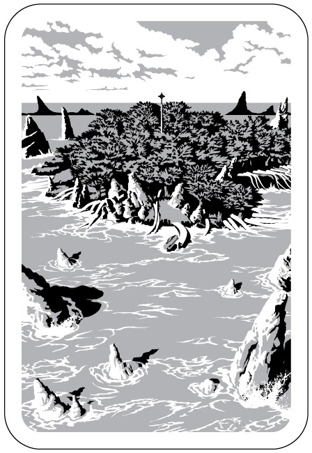 Black and white graphic illustration of alien island.