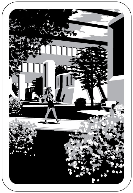 Black and white graphic illustration of woman walking through wooded futuristic city.