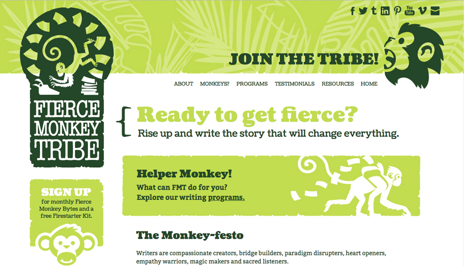 Fierce Monkey Tribe home page screen capture. Bright green panels with dark green type and monkey illustrations.