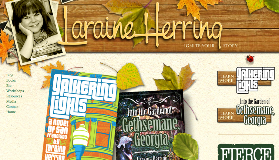 Home page of laraineherring.com. Wood planks with yellow logotype at top, photos of author at left, ad space for books below.