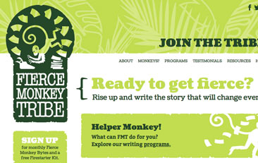 Close-up of fiercemonkeytribe.com home page. Bright green patterned bars with dark green type and monkey illustrations.